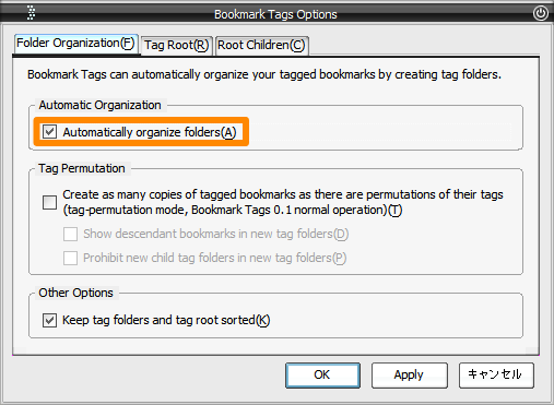 Bookmark Tags -> Folder Organization